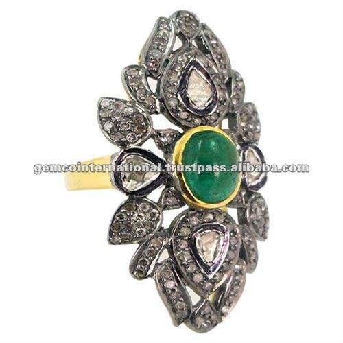 14K金のエメラルドリング、925銀製のダイヤモンドの宝石類、ビクトリア朝のアクセサリー、民族様式の新しい方法リング