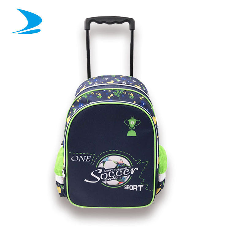 High quality children student trolley handle school backpack bag with wheels roller