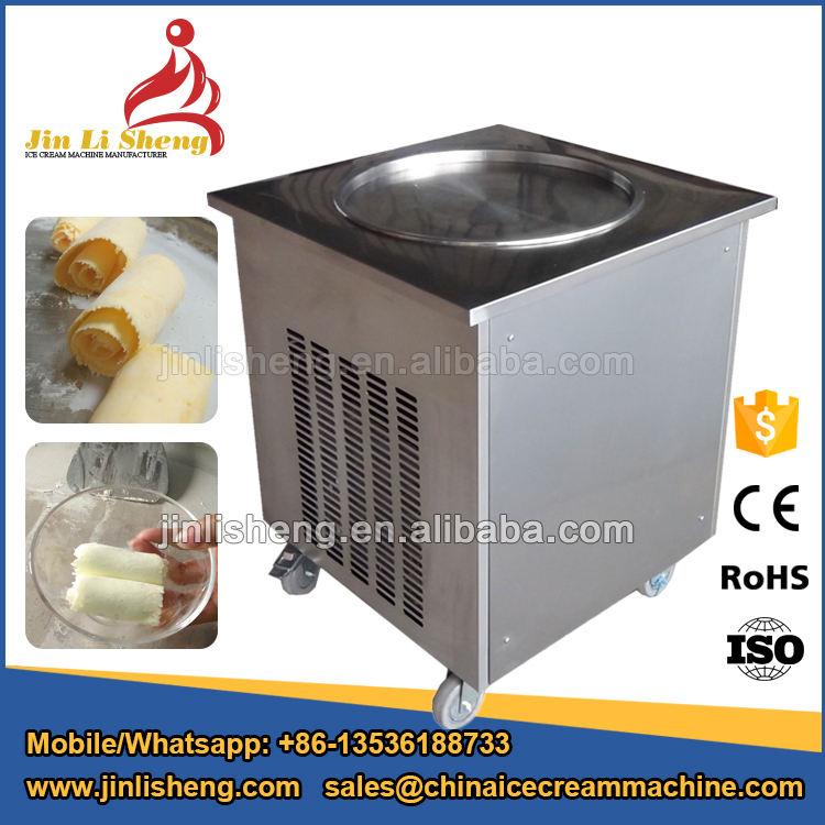Superventas frito máquina de helado, freír rollos helado, tailandesa sola Ronda pan laminado frito helado que hace la máquina