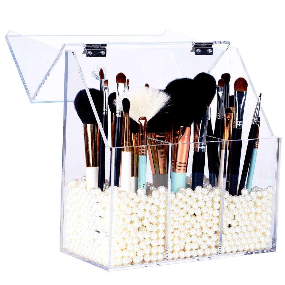 Tenedor cosmético barato del cepillo del maquillaje de la exhibición cosmética con el organizador de acrílico duro claro del ma
