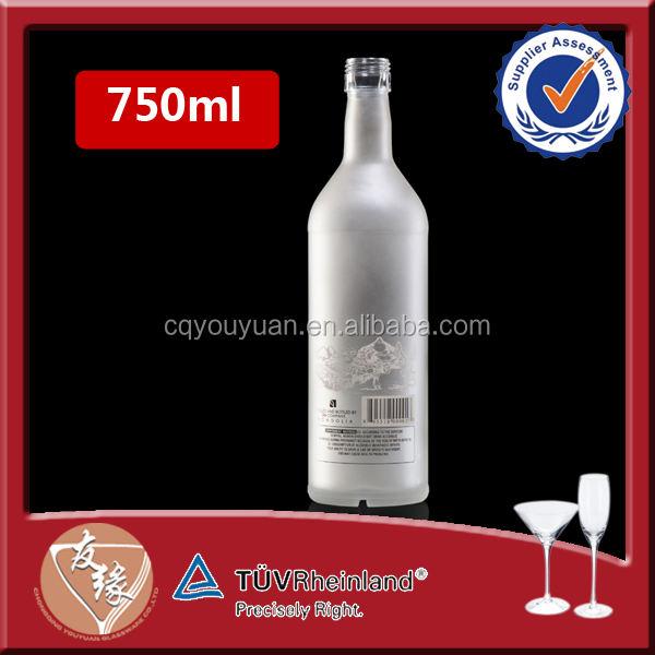 Pedernal especial único grabado ácido de vidrio esmerilado de 750 ml botellas de vino de vidrio con tapa de rosca