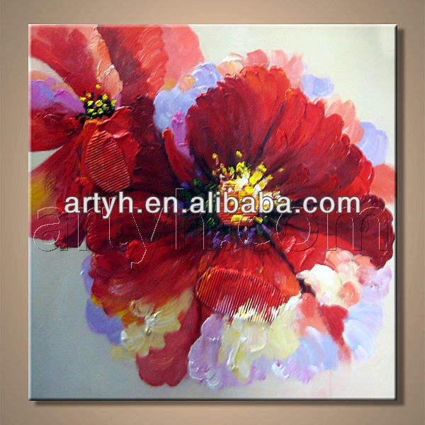 handpainted яркие красный <span class=keywords><strong>цветок</strong></span> маслом для декора