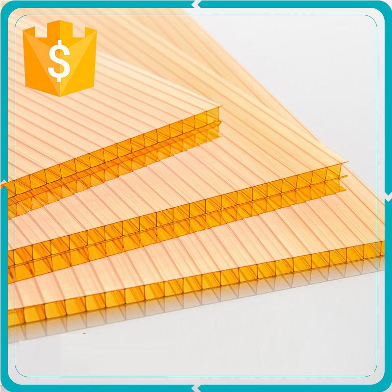 Желтый 4 мм две стены экструдированного поликарбонат цена
