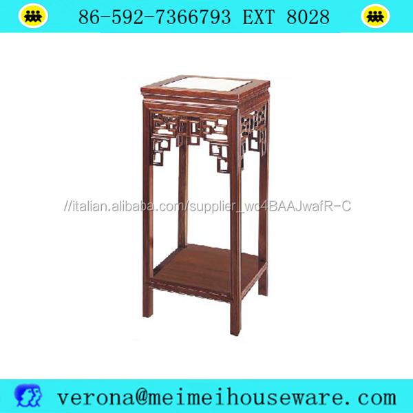 Cina fiore di legno del basamento per vaso e materiale illustrativo