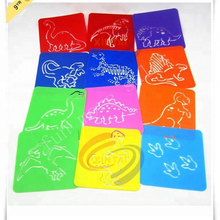 Colorful PP art stencil animal plastic stencil for kids