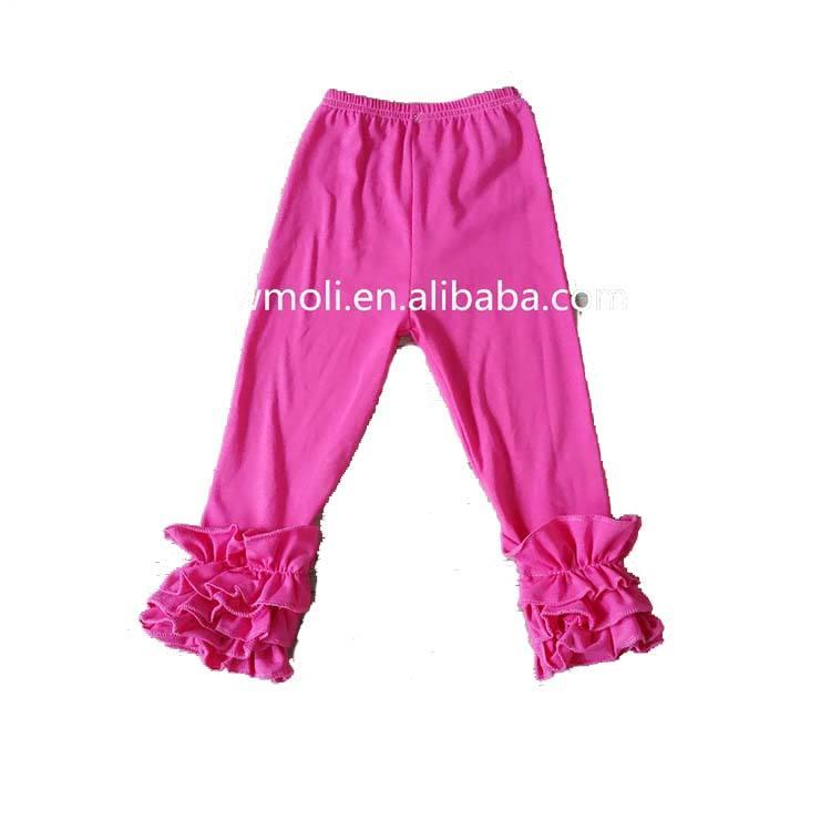 Модная однотонная детская одежда леггинсы штаны с тремя рядами оборок оптовая продажа Обледенение детские леггинсы