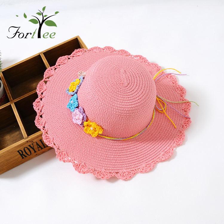 Пользовательские цвета красивые детские забавные Тканые Цветок пляжная соломенная шляпа, солнцезащитный козырек