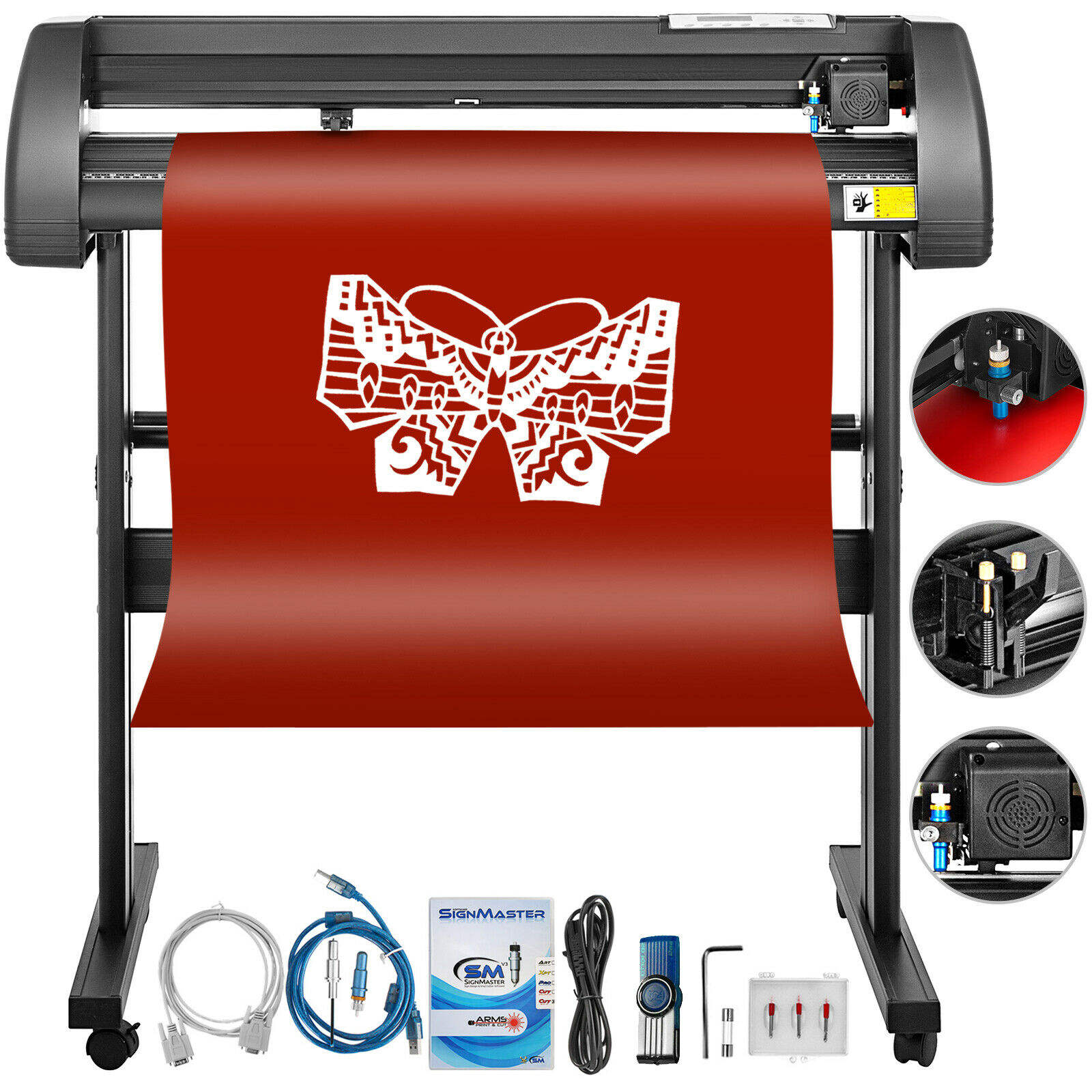 "Vinyl Cutter Plotter Vinyl Cutter Plotter Cutting 34"" Sign Sticker Making Print Software 3 Blades Usb"