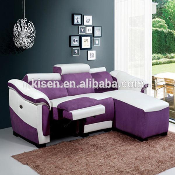 tela de los muebles de medio círculo de color púrpura sofá de sofá cama km8085