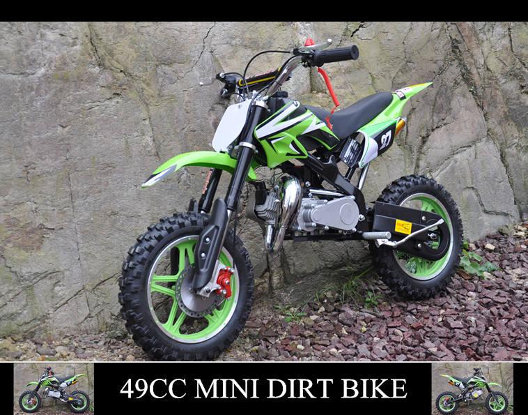 <span class=keywords><strong>QWMOTO</strong></span> CE 50cc Gas Verde mini niños bici de la suciedad para la venta barata con llantas de colores