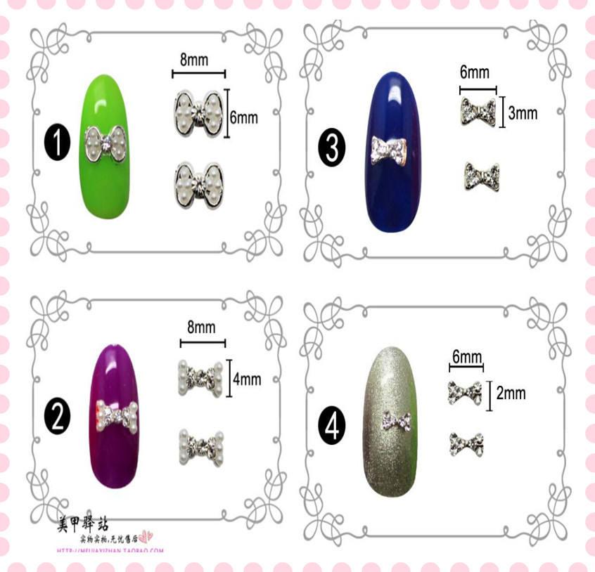 Moda Bow Tie Popular Nail Art Sticker 3D liga unhas encantos acessórias