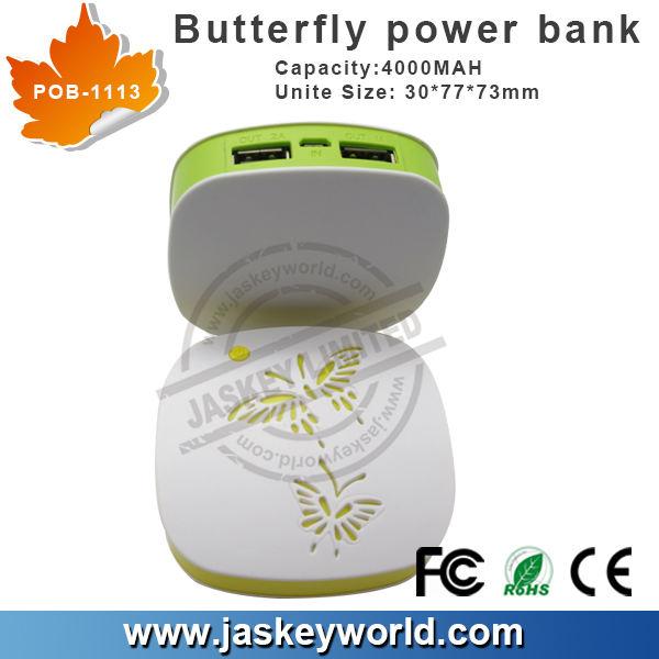 Unique hot vente mini 2014 papillon, banque de puissance