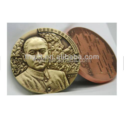 3d القديمة النحاس تصميم العظمى شخص معدنية تذكارية عملة مع أي الألوان