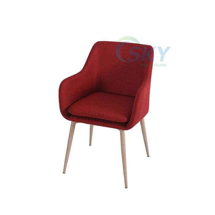 Rojo comedor tapizadas, tela reclinable sillón