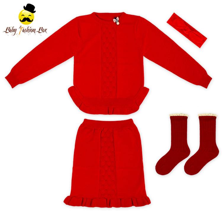 короткая юбка с теплым носком матч оголовье новый дизайн свитер для девочек