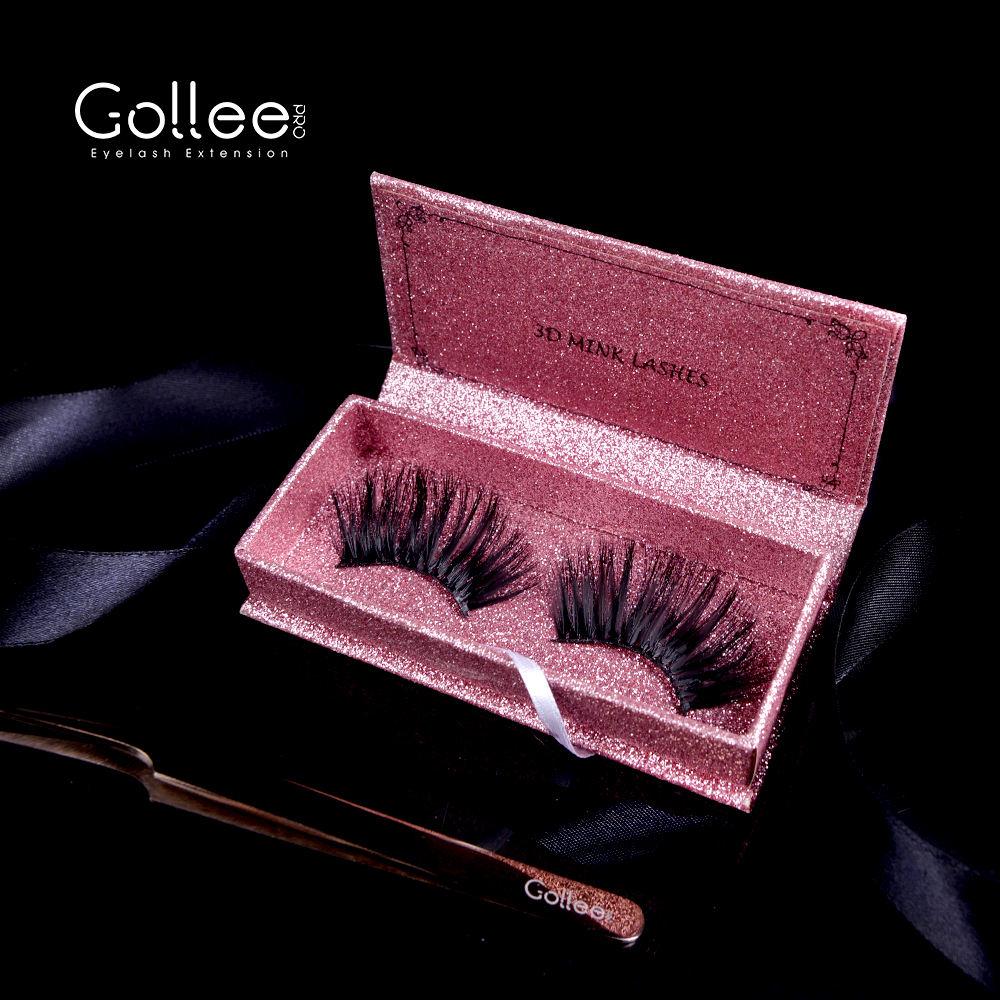 Gollee mezclado maquillaje de <span class=keywords><strong>piel</strong></span> hecho a mano materia prima de doble capa Bling visón rosa de seda visón pestañas