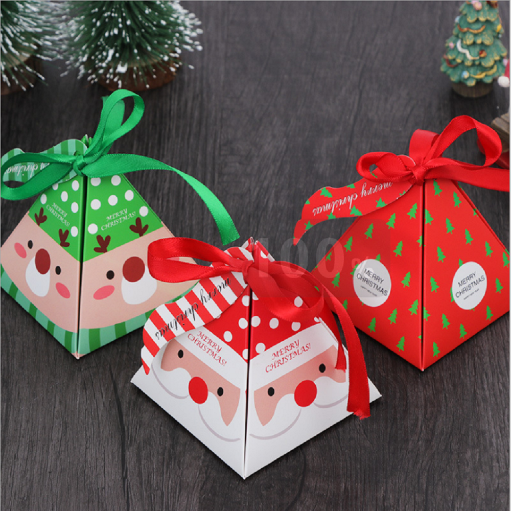 Merry Christmas Candy Box Bag Christmas Tree Gift Box With Bells Paper Box Gift Bag Container Supplies Navidad