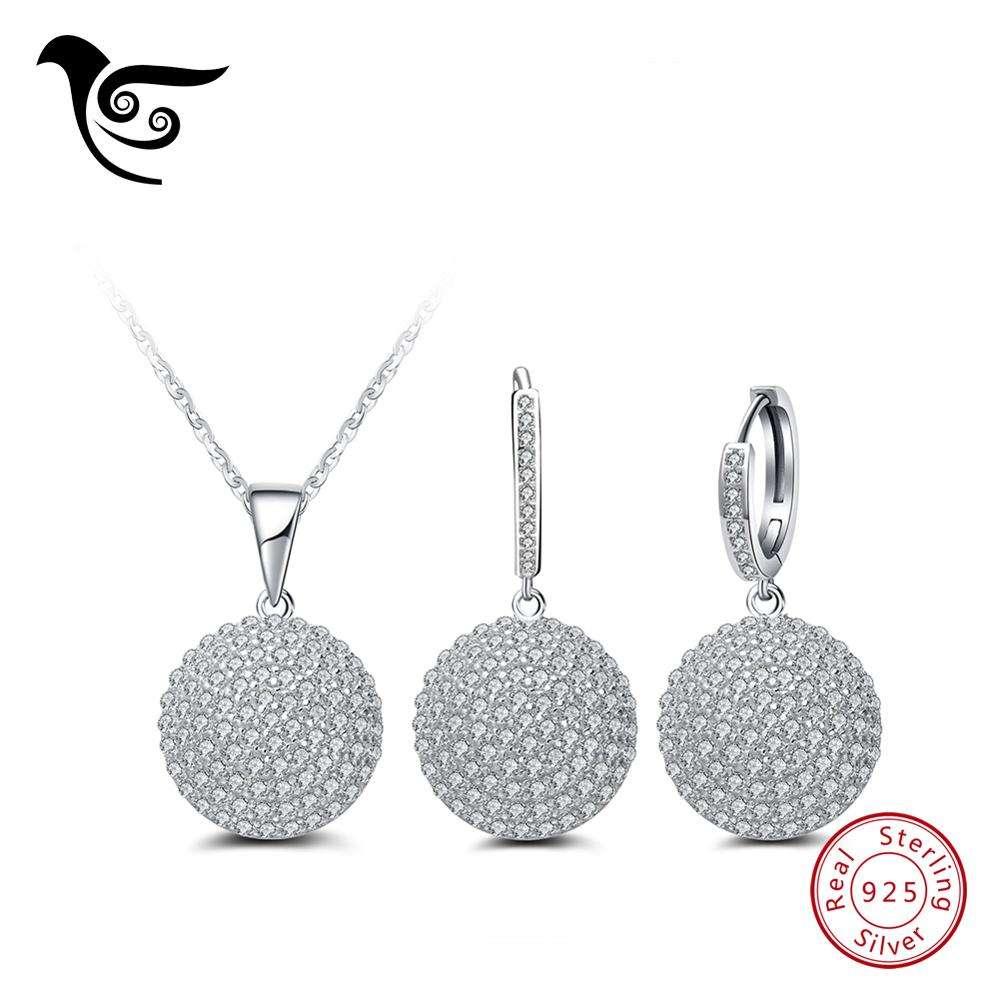 проложить параметр Циркон комплект ювелирных изделий 925 серебряные серьги и колье для женщин