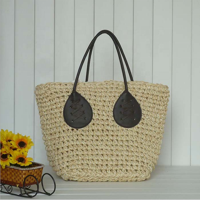 Contracted plant handwork straw braids bag beach bag