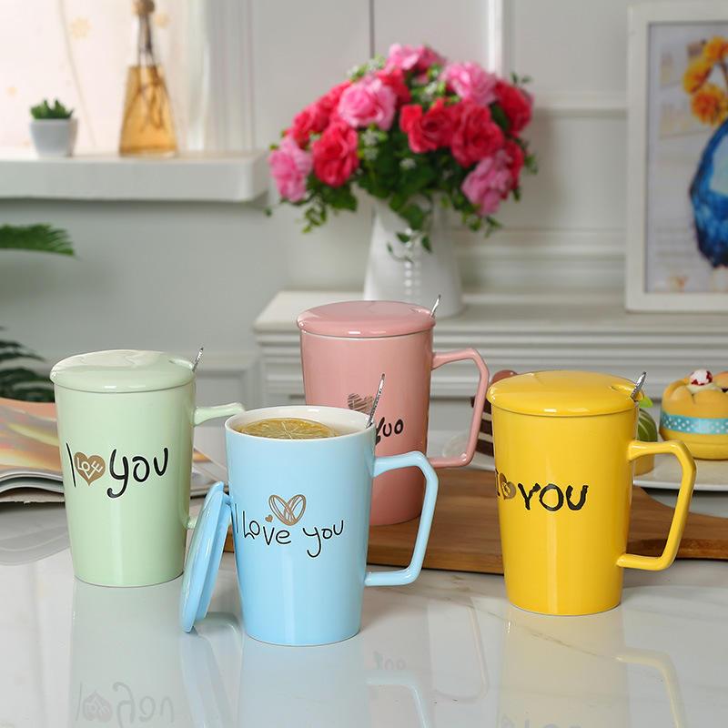 Seni seviyorum Seramik V-şekilli kahve kupa ile kapak