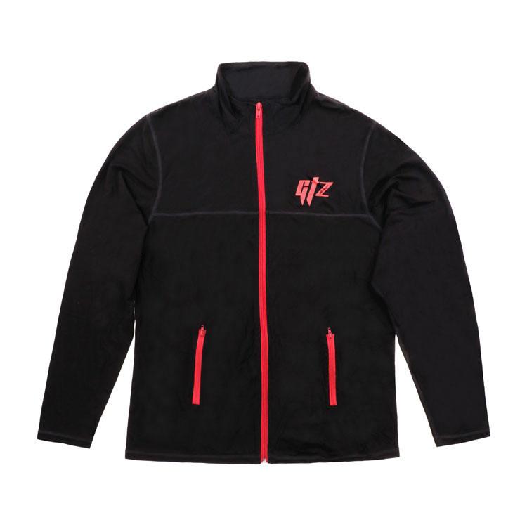 Пользовательские логотип полиэстер черный Мужская спортивная куртка производитель