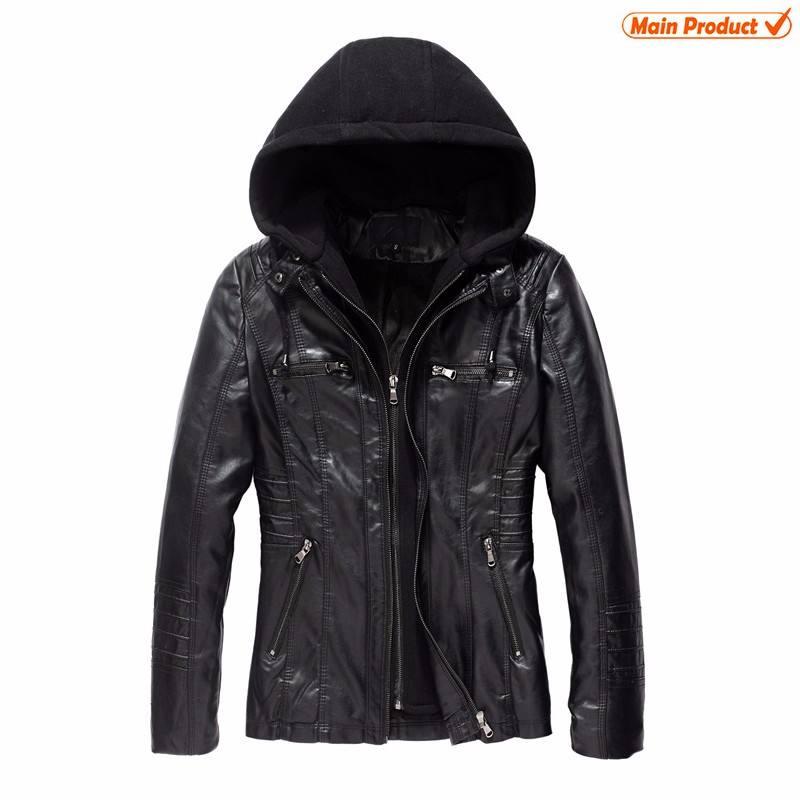 Оптовая продажа OEM леди кожаная куртка толстовки женские пальто из искусственной кожи с капюшоном куртка из искусственной кожи