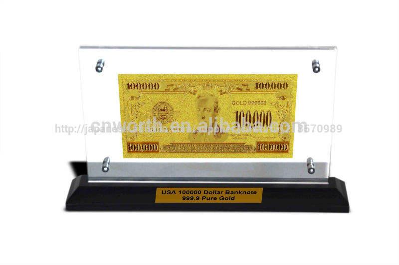 極めてまれ素敵な私達ゴールド紙幣$100000純粋な24kドル。 クラッド999で金にビジネスまたはアクリルスタンドギフトコレクション