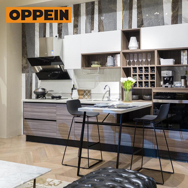 OPPEIN foto real grão laminado de madeira e <span class=keywords><strong>armários</strong></span> de cozinha laca branca