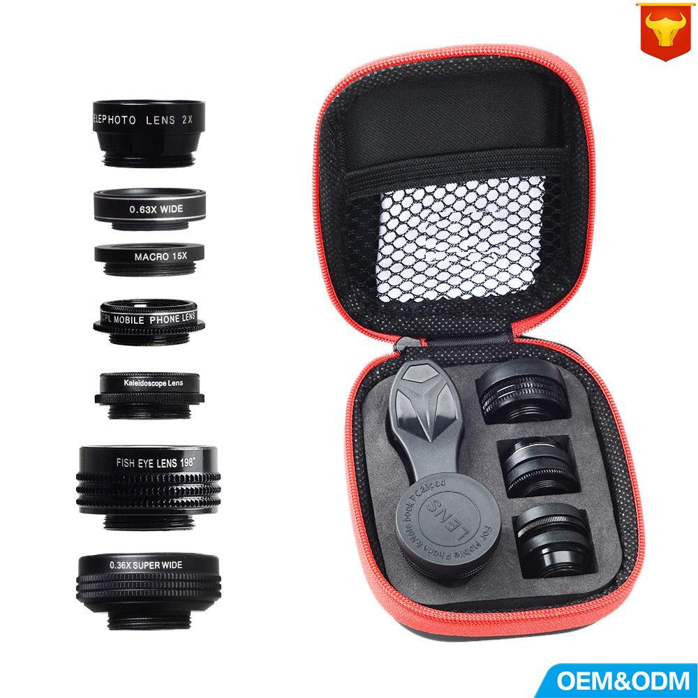 Телефон объектив камеры комплект рыбий глаз широкоугольный/макрообъектив CPL калейдоскоп и <span class=keywords><strong>2X</strong></span> телефото зум-объектив 7in1
