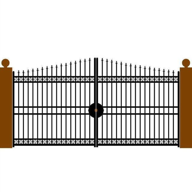 black powder coated cheap wrought iron fence gate / main gate designs