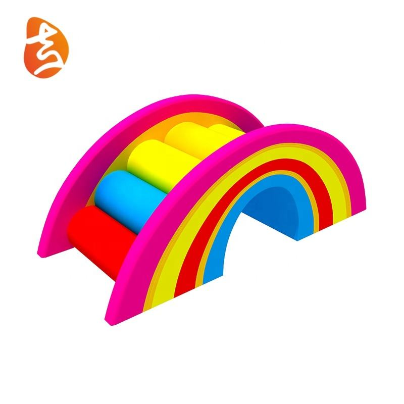 Factory price new fashion design indoor rainbow bridge soft play for kids