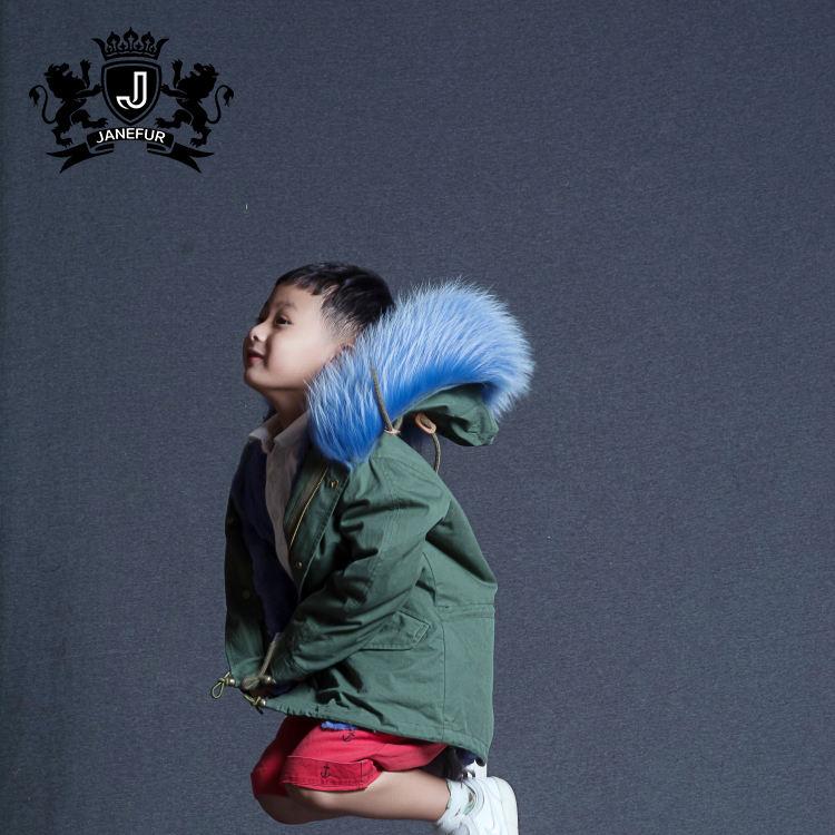 Детская зимняя одежда теплый меховой капюшон Детская куртка для улицы