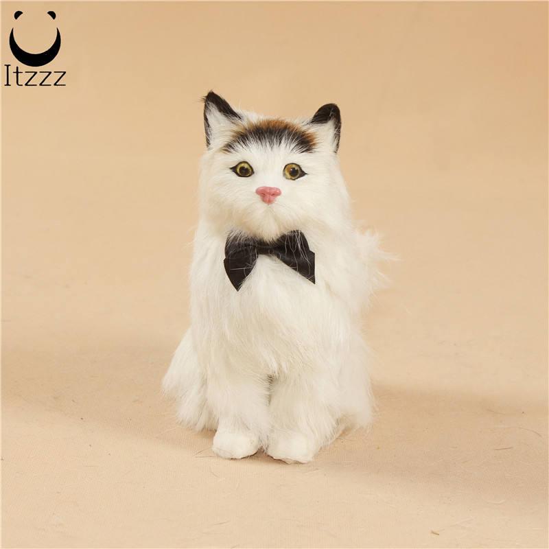 Simülasyon hayvan kedi peluş sahne <span class=keywords><strong>tavşan</strong></span> kürk yavru el yapımı zanaat çocuk kız hediye masaüstü süsler