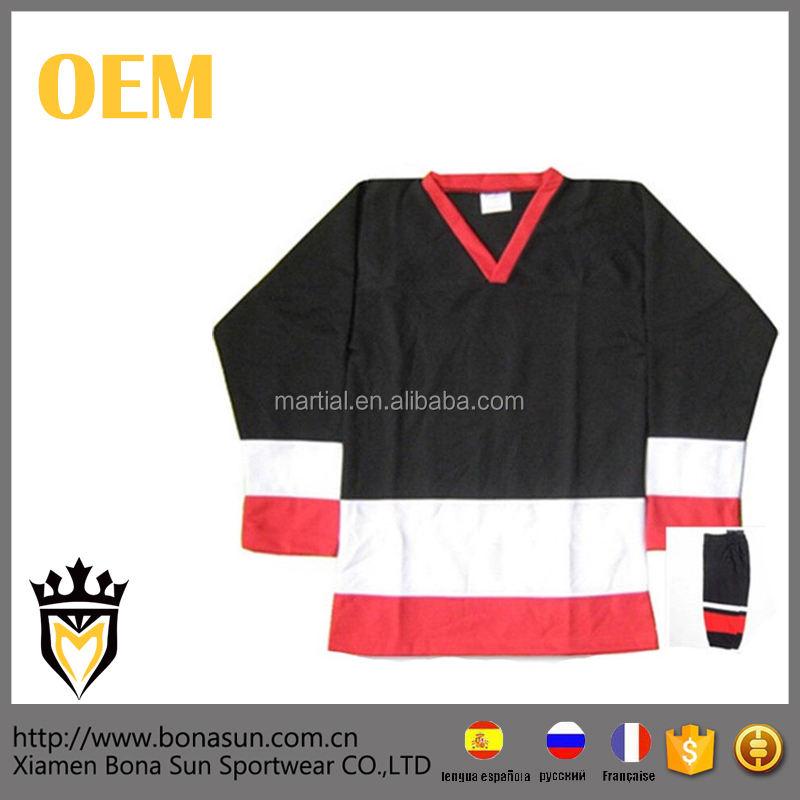 أبيض أسود مخصص التصميم الخاص بك فريدة من نوعها الشريط الأحمر هوكي الجليد جيرسي