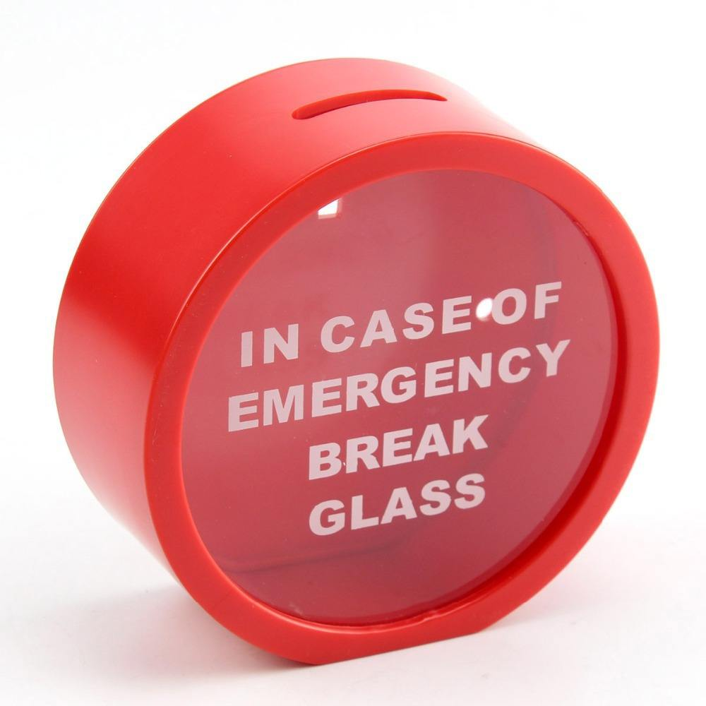 12cm kırmızı durumunda acil mola cam sikke kumbara para tasarrufu kutusu durumda
