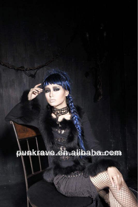 Venta al por mayor y-406 goth rock ropa de manga larga/<span class=keywords><strong>tapas</strong></span> con el pelo decorado de punk <span class=keywords><strong>rave</strong></span>