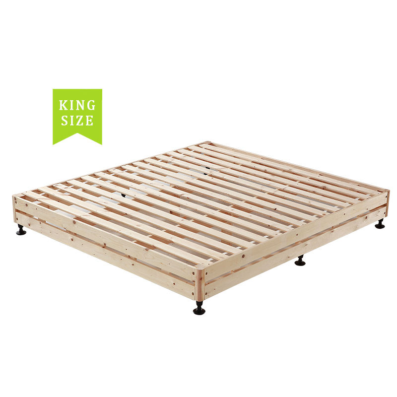 Solid wooden slatted bed frame
