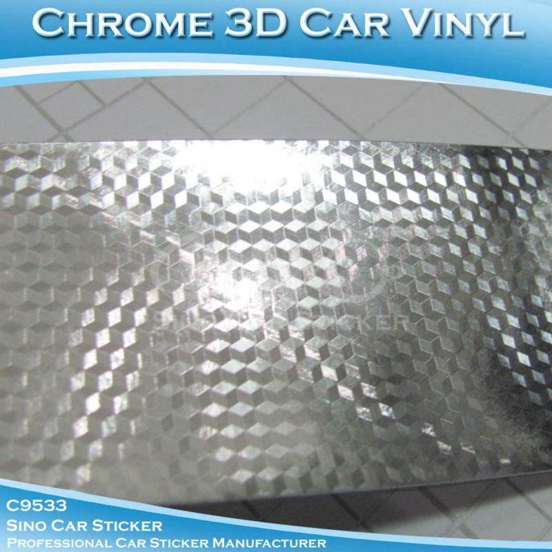 Chrome silver 4d cubo carro corpo etiqueta decoração 1.52x30m