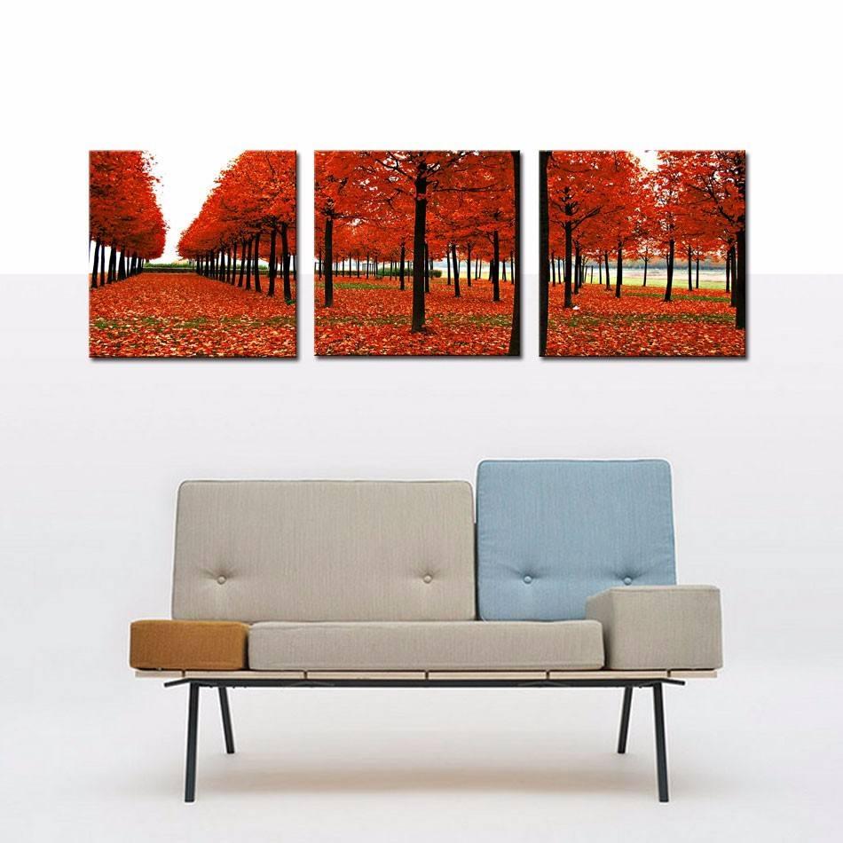 3 Paneles de Red Trees Bosque Impresión Pared Pictures Moderno <span class=keywords><strong>Pinturas</strong></span> Para El Hogar Bar Hub Hotel Restaurante