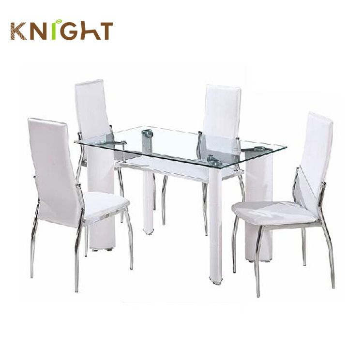 Barato moderno restaurante de estilo parte superior de cristal templado claro comedor juegos de mesa con 4 sillas