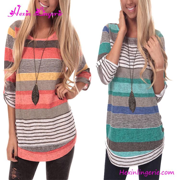 В поперечную полоску осенний пуловер стиль свитер конструкции модная блуза Топы женские