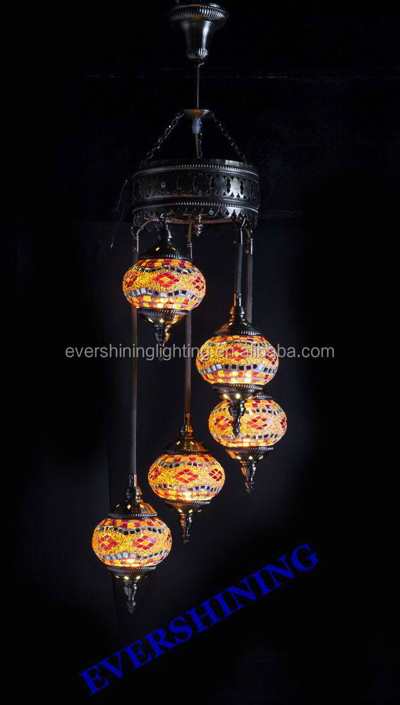 Evershining Usine HOTSALE 5 Balle Vintage Pendentif Lumière, attrayant YMA41305 Turc Istanbul Mosaïque Lampe Suspendue
