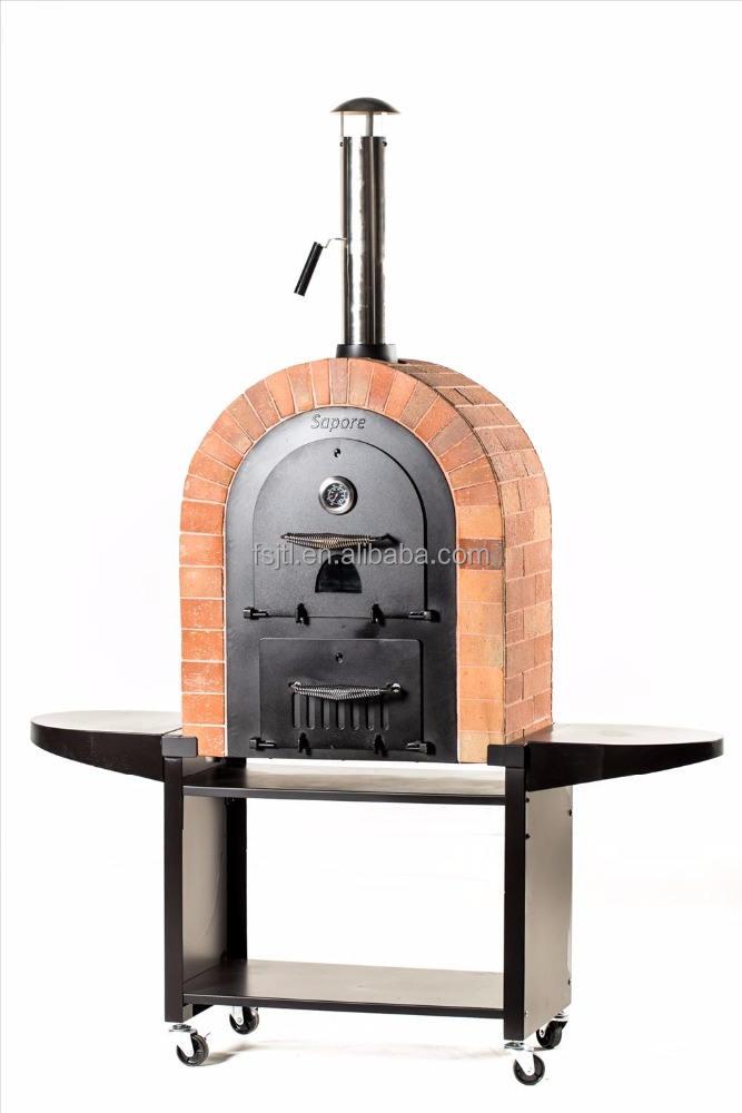 De Acero inoxidable de Madera Al Aire Libre despedido horno de ladrillo de piedra pizza pan BARBACOA