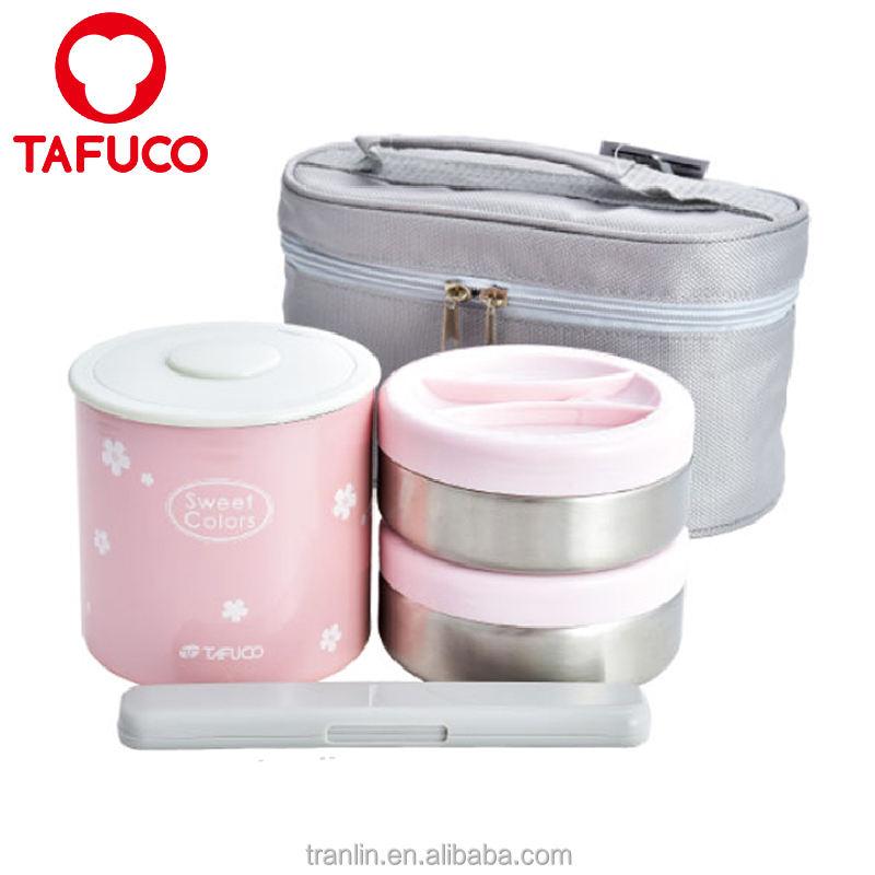 Jar Almoço 0.4L + 0.34L Vácuo parede dupla de aço inoxidável recipiente de alimento térmica