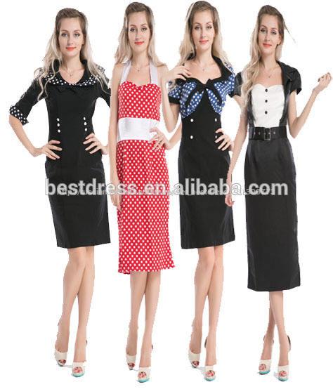 2014 горячей продажи дешевые bestdress новый старинный 50-х 60's rockabilly ретро слуёба карандаш покачивание прикалывать платье