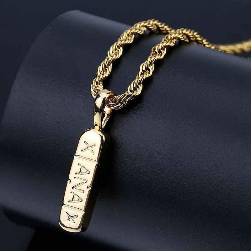 Suministro transfronterizo personalidad palabra bar collar de los rap hiphop estilo chapado en oro real de joyería de latón