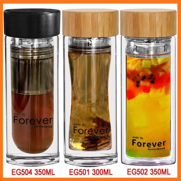 ingrosso personalizzabile vendita costruttore di vetro borosilicato tappo di bambù tè bottiglia di acqua
