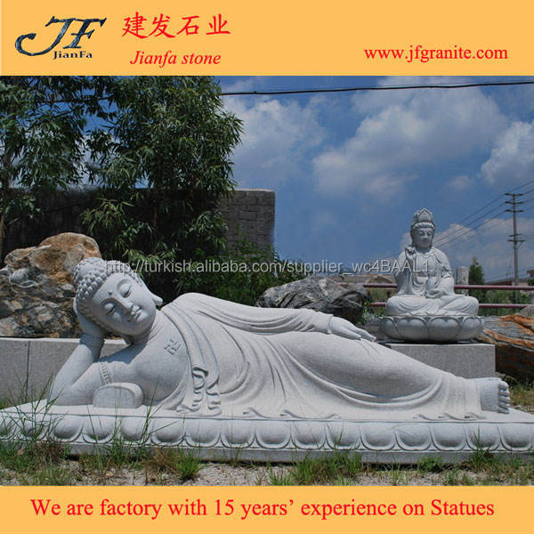 bahçe dekorasyon recling ve uyku granit buddha taş heykeller
