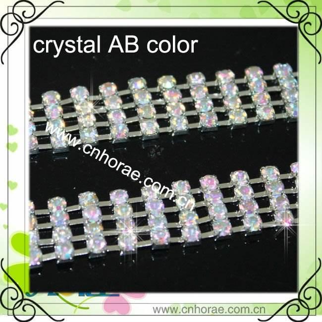 4 linhas de prata base cor cristal ab strass cadeia