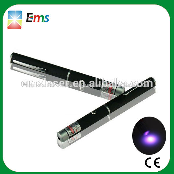 2014 caliente venta seguro puntero láser pluma con luz ultravioleta puntero láser caja de regalo